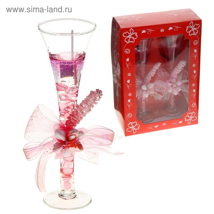 """Свечи гелевые (набор 2 шт) """"Цветок"""", цвет розовый"""