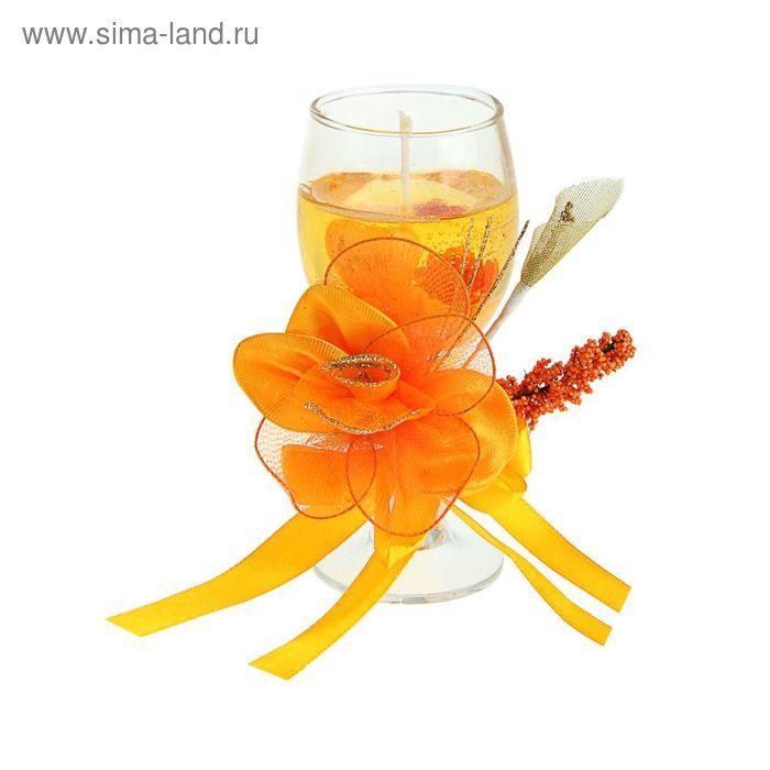 """Свеча гелевая """"Пышная роза"""", цвет оранжевый"""