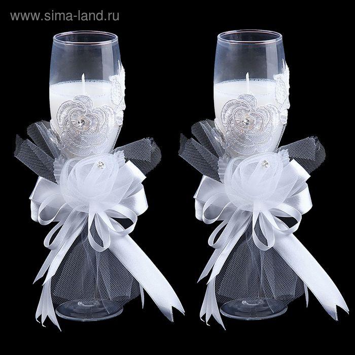 """Свечи восковые (набор 2 шт) """"Бокал. Пышные розы"""", цвет белый"""