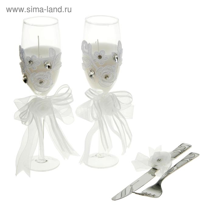"""Свечи восковые (набор 2 шт + нож + вилка) """"Бокал. Пышные розы"""", цвет белый"""