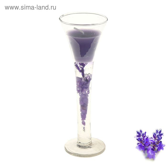 "Свеча восковая+гелевая ""Коктейль"", аромат лаванда"