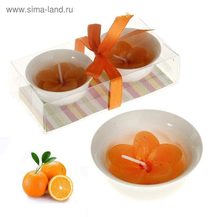"""Свеча восковая+гелевая (набор 2 шт) """"Цветочек"""", аромат апельсин"""