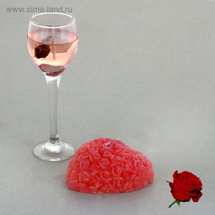 """Набор свечей (1 гелевая +1 восковая) """"Восторг"""", цвет розовый, аромат роза"""