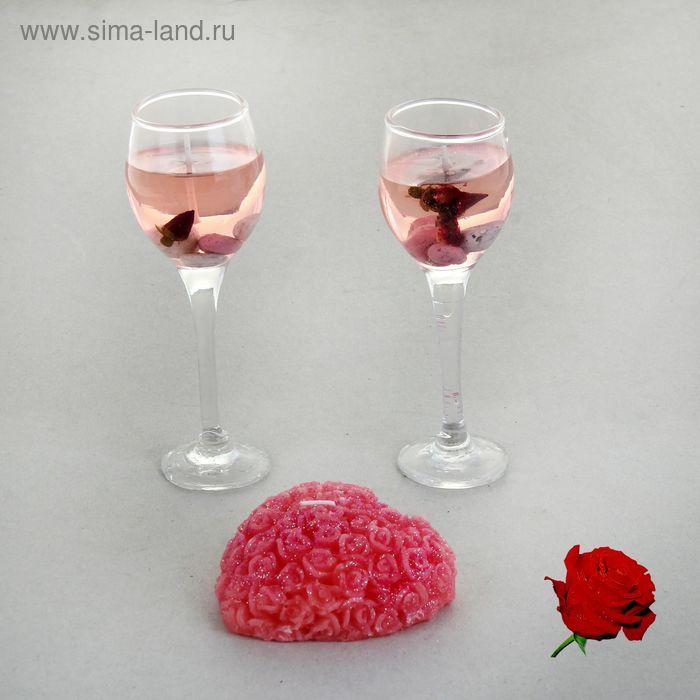 """Набор свечей (2 гелевых + 1 восковая) """"Восторг"""", цвет розовый, аромат роза"""