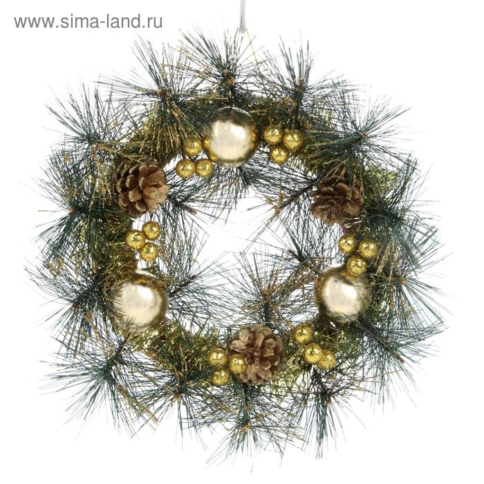 Венок рождественский с шариками и шишками
