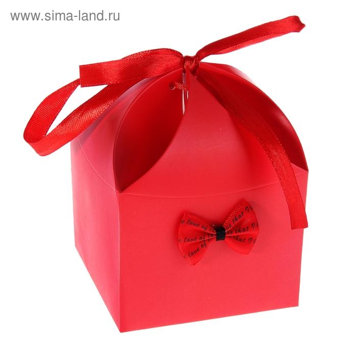 """Коробка сборная """"Мешочек счастья с бантиком"""", цвет красный"""