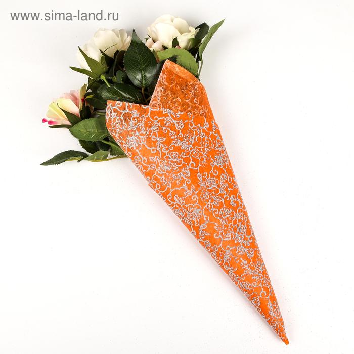 """Флизелин """"Узоры"""", цвет оранжевый"""