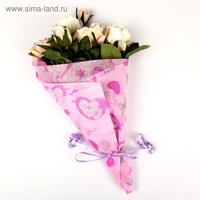 """Флизелин """"Крылья любви"""", цвет ярко-розовый"""