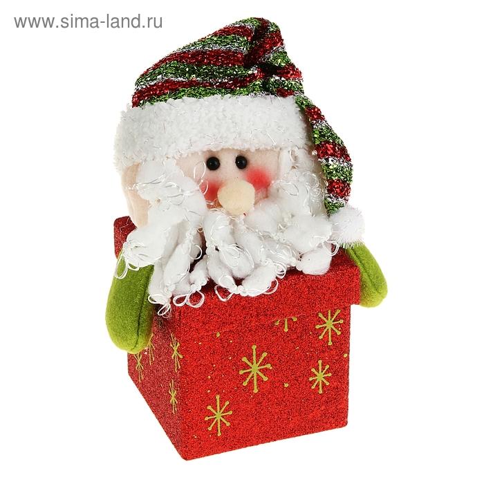 """Новогодняя подарочная коробка """"Блестящий Дед Мороз"""" красная"""
