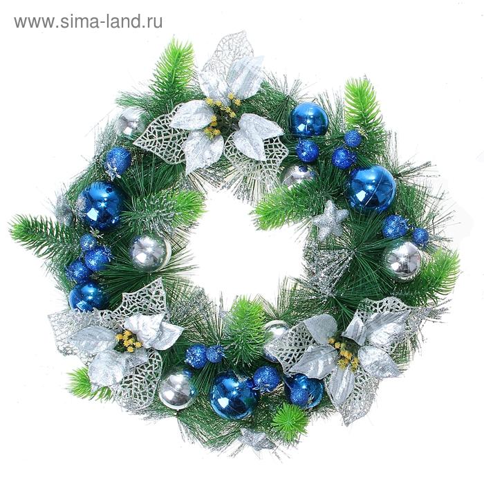 """Венок рождественский """"Синие шарики"""""""