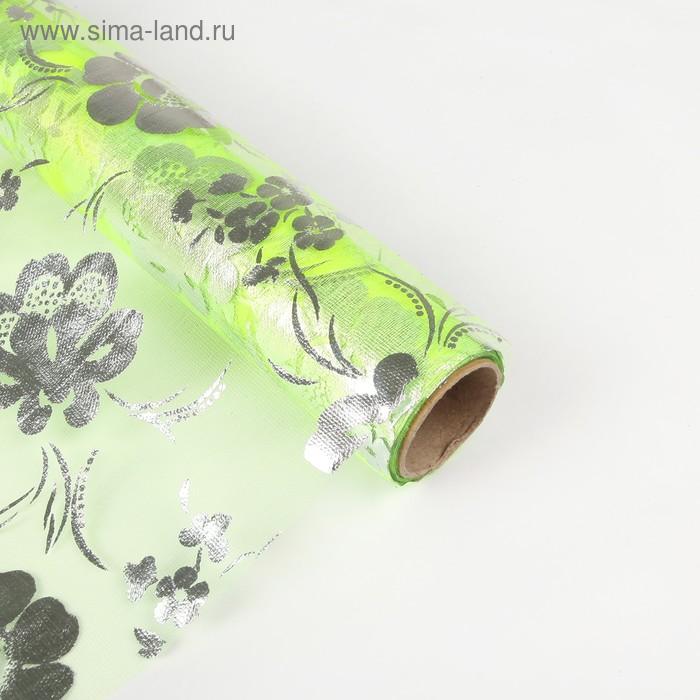 """Органза """"Цветочная полянка"""", цвет светло-зеленый"""