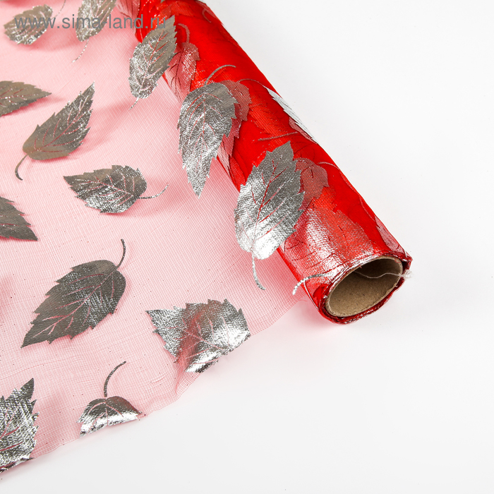 """Органза """"Листья"""", цвет красный"""