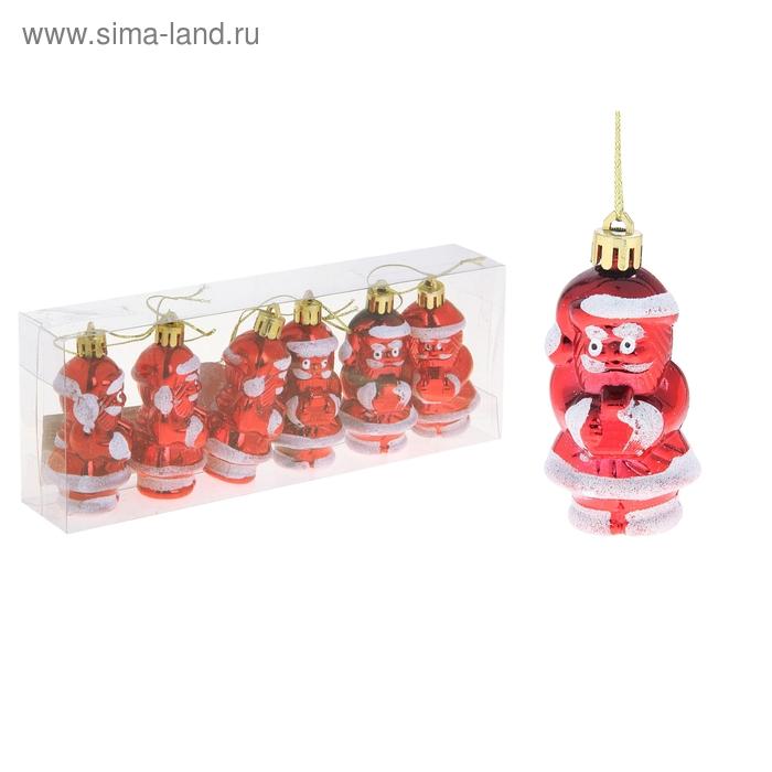 """Ёлочные игрушки """"Деды Морозы с подарками"""" (набор 6 шт.)"""