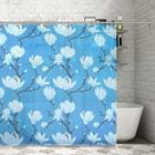 """Штора для ванной 180х180 см """"Цветущая магнолия"""", EVA, цвет голубой"""