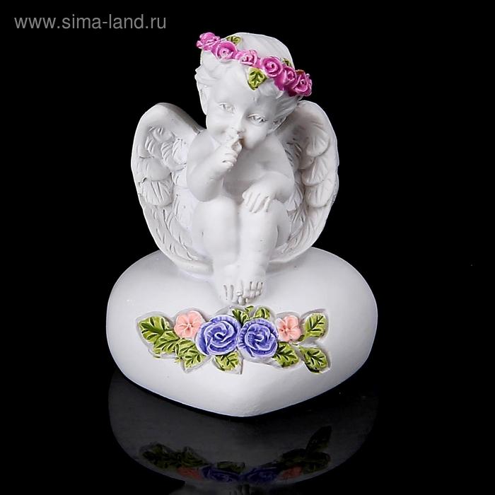 """Сувенир """"Ангелочек на сердце с цветным веночком"""""""