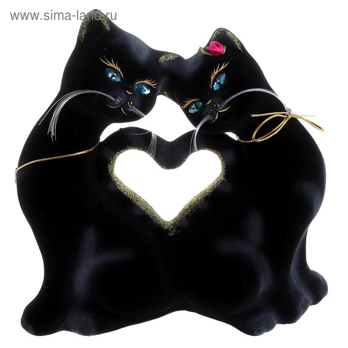 """Копилка """"Кошки в форме сердца"""", флок, чёрная"""