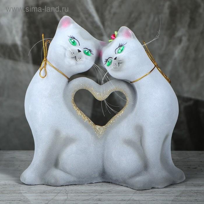 """Копилка """"Кошки в форме сердца"""", флок, серая"""