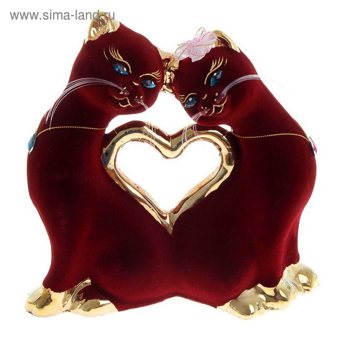 """Копилка """"Кошки в форме сердца"""" флок, булат, бордовая"""