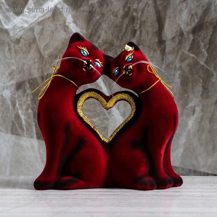 """Копилка """"Кошки в форме сердца"""" флок, бордовая"""