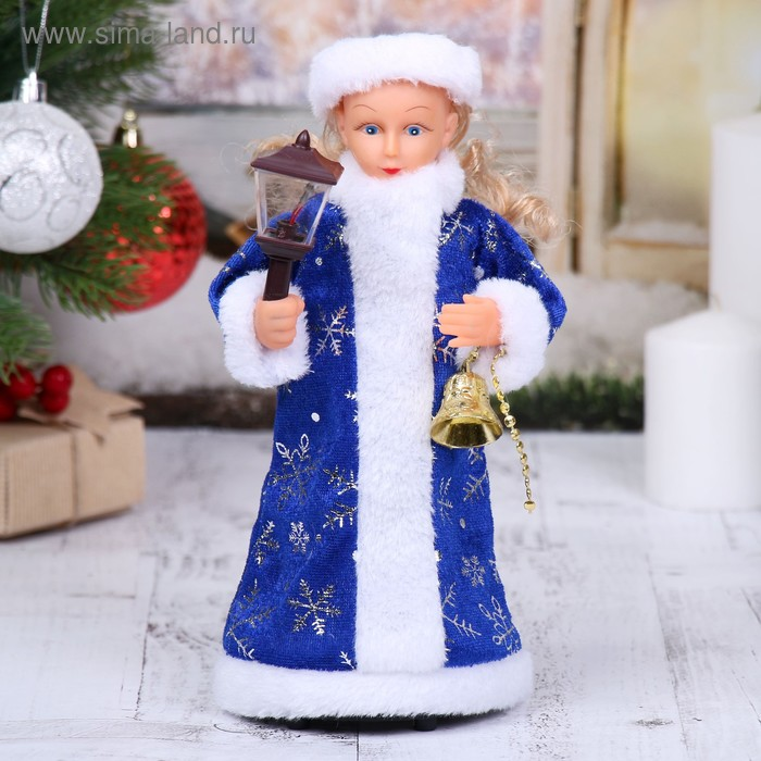 Снегурочка, в синей шубке, с фонарём, с подсветкой, русская мелодия