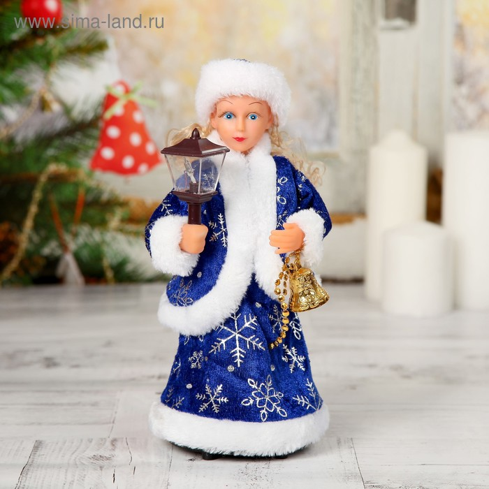 Снегурочка, в синей шубе, с фонариком, с подсветкой, русская мелодия