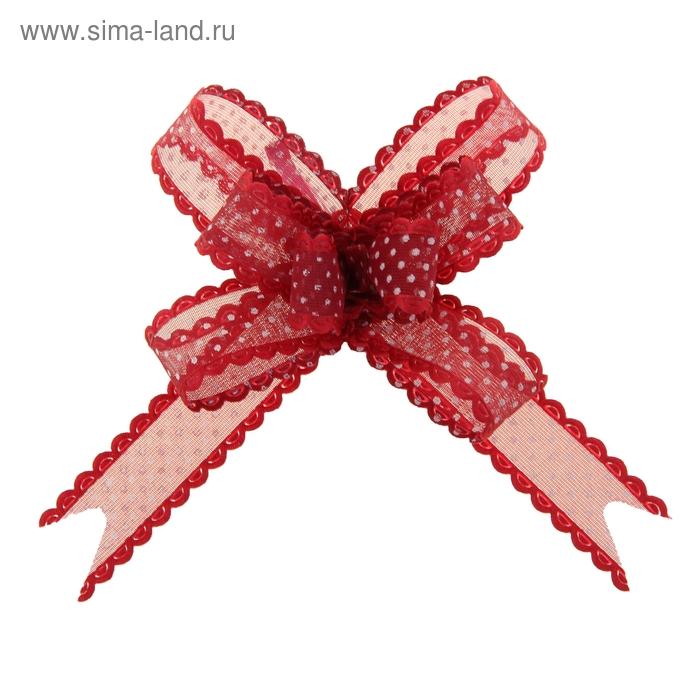 "Бант-бабочка №2 ""Крапинка"", цвет бордовый"