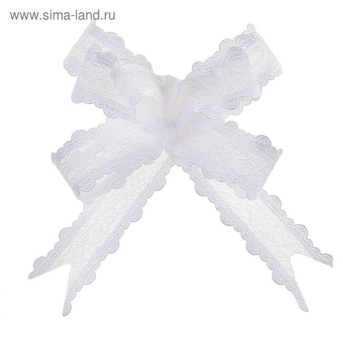 "Бант-бабочка №2,5 ""Паутинка"", цвет белый"