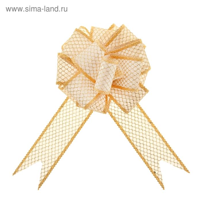 """Бант-шар №3,8 """"Блестящая сетка"""", цвет золотой"""