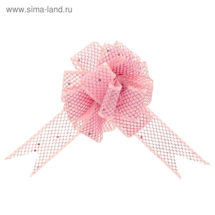 """Бант-шар №3,8 """"Блестящая сетка"""", цвет розовый"""