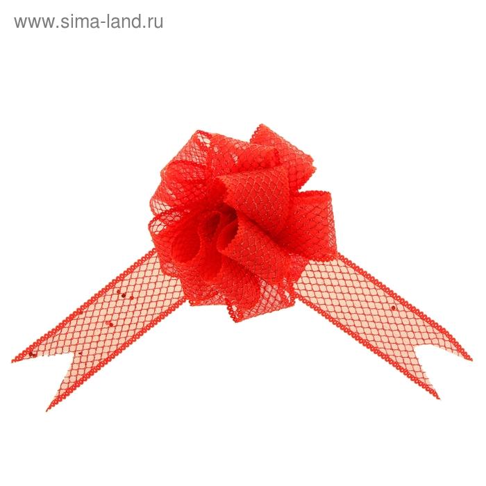 """Бант-шар №3,8 """"Блестящая сетка"""", цвет красный"""