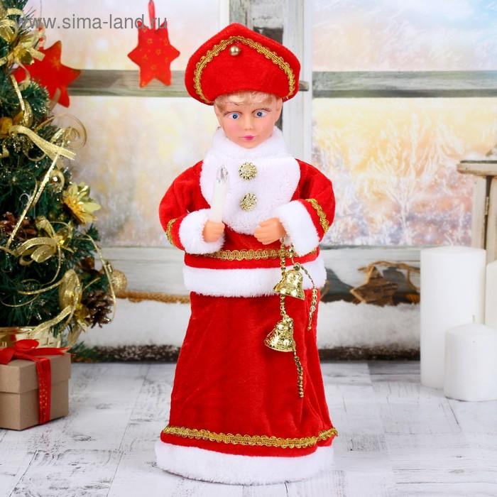 Снегурочка, в красной шубе, с подсветкой