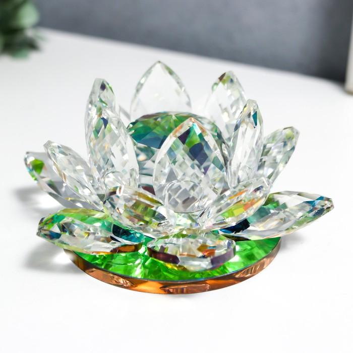 """Сувенир """"Лотос-кристалл трехъярусный - зелёная радуга"""""""