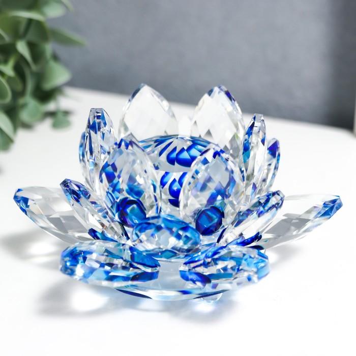 """Сувенир """"Лотос-кристалл трехъярусный - голубая радуга"""""""