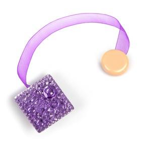 Подхват для штор на ленте 'Сверкающий квадрат', цвет фиолетовый Ош