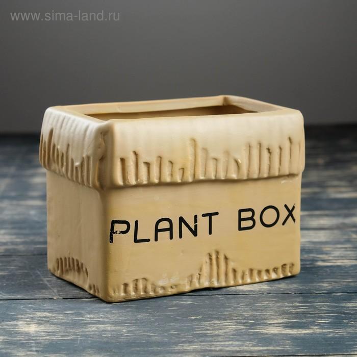 """Кашпо """"Картонная коробка"""" среднее, коричневое"""