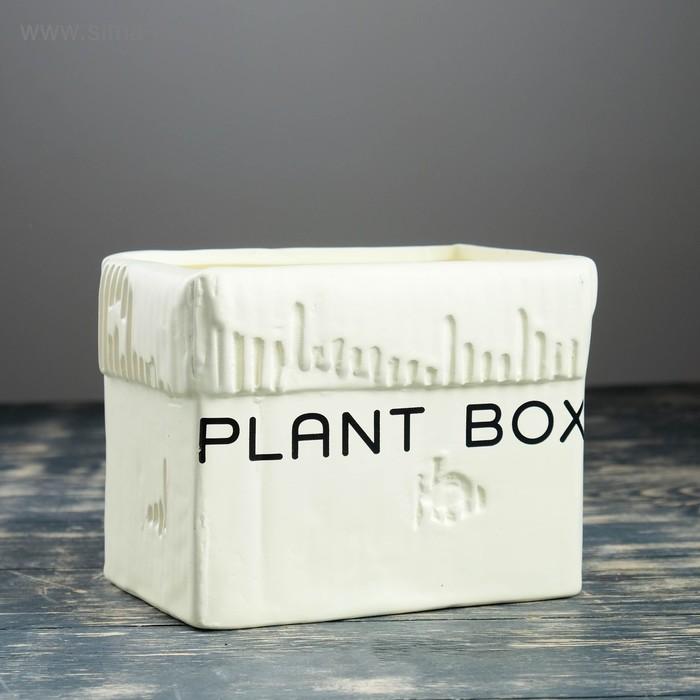 """Кашпо """"Картонная коробка"""" большое, белое"""