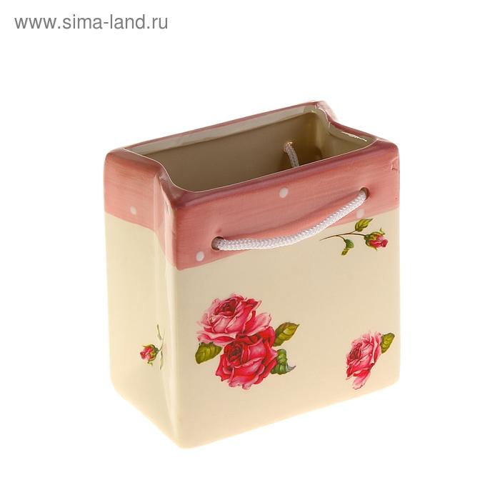 """Кашпо-пакет """"Розы"""" кремово-розовое"""