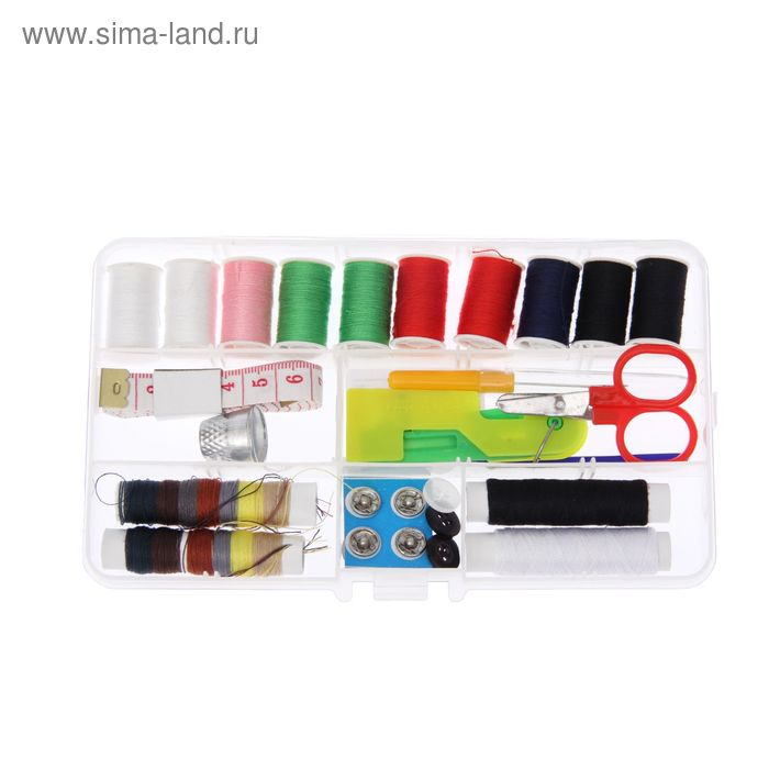 Набор для шитья в пластиковой коробке, 22 предмета