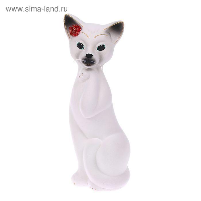 "Копилка ""Кошка Алиса"" средняя, флок, белая, микс"