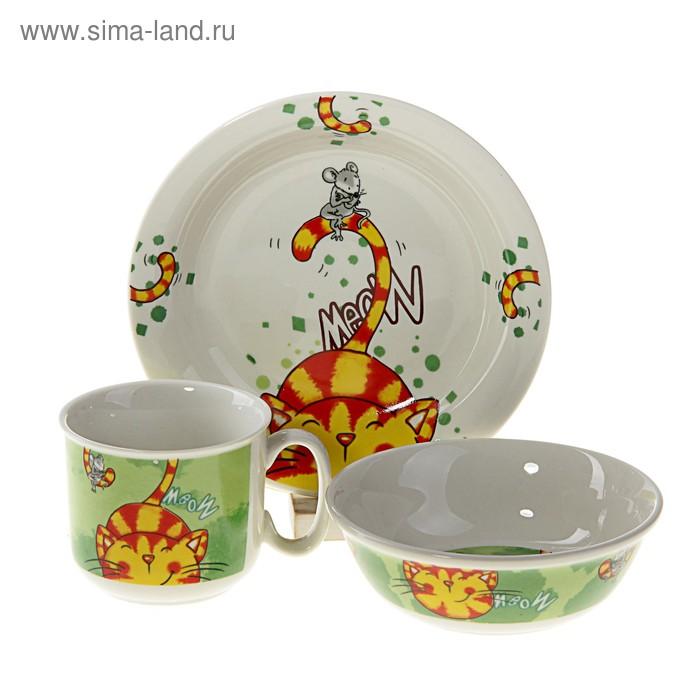 """Набор детской посуды """"Мурлыка"""", 3 предмета: кружка 160 мл, салатник 12,5х4 см, тарелка d=16 см"""