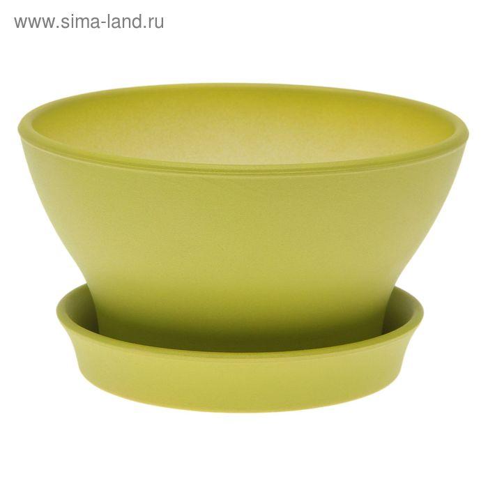 """Кашпо """"Ксения"""" фиалочница, глянец, зелёное, 1,3 л"""