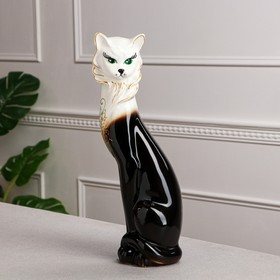 """Копилка """"Кошка Иден"""" глазурь, чёрно-белая"""