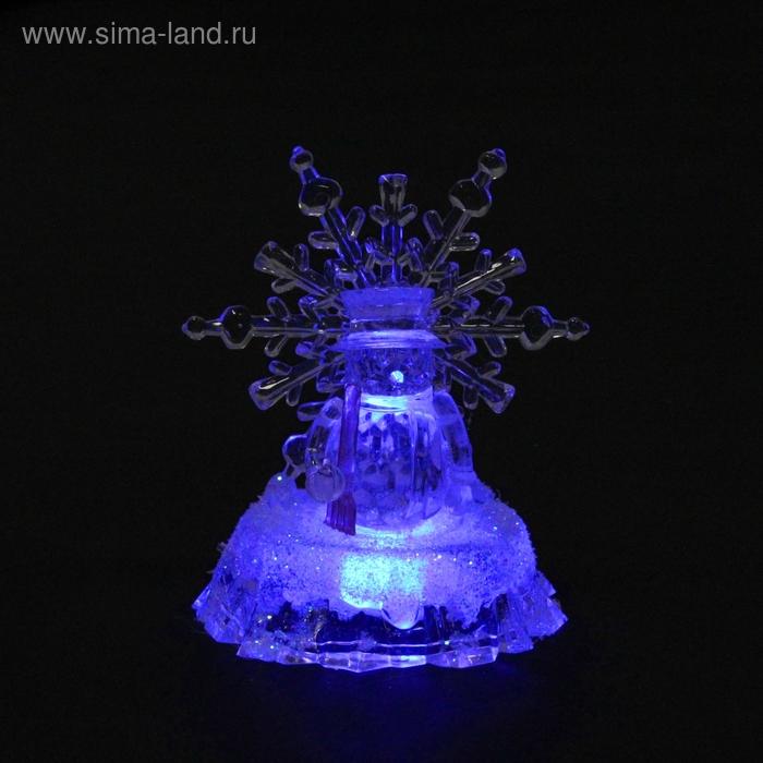 "Игрушка световая ""Снеговик и снежинка"", 9х11 см, батарейки в комплекте"