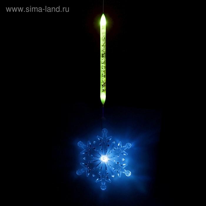 "Игрушка светящаяся подвесная ""Снежинка"" на 1 трубке, 11х11 см, батарейки в комплекте"