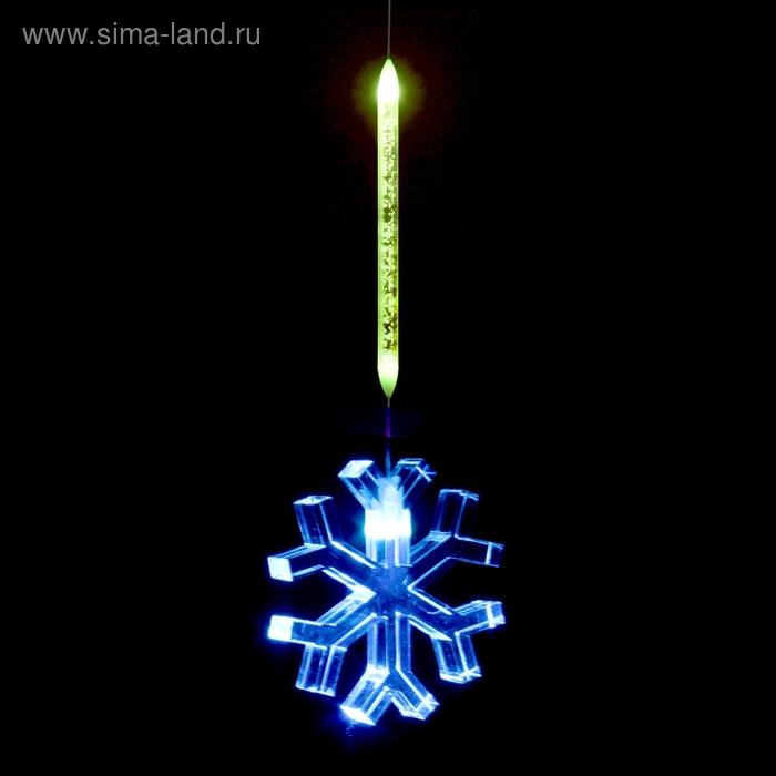 "Игрушка светящаяся подвесная ""Снежинка"", 7х7 см, батарейки в комплекте"
