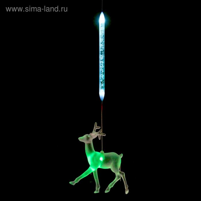 """Игрушка светящаяся подвесная """"Олень"""" на 1 трубке, 10х10 см, батарейки в комплекте"""