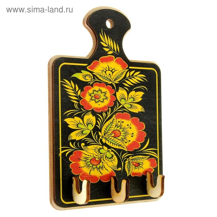 Ключница «Доска с цветами», хохлома, 16х10,5 см