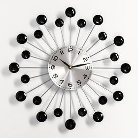 """Часы настенные интерьерные """"Лучики"""", d=34 см, кристаллы чёрные"""