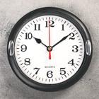 """Часы настенные круглые """"Концепт"""", d=15 см, 2 держателя, циферблат белый, рама чёрная"""