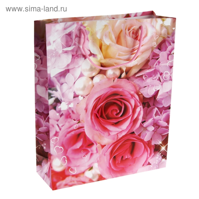 """Пакет ламинированный """"Розы с жемчугом"""""""